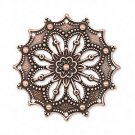 Focal, antiqued copper-plated brass, 34mm filigree flower. Sold per pkg of 1.