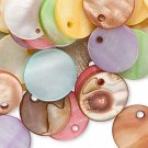 Drop mix, mother-of-pearl shell, multicolored, 15mm flat round, 20pcs
