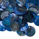 Drop, mussel shell, dark blue, 15mm flat round. Sold per pkg of 20