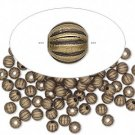 Antique bronze-coloured metal beads, 4mm corrugated round, 25cs