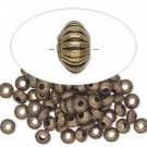 Antique bronze-coloured beads, corrugated, 5x3mm rondelle, 25pcs