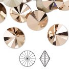 Swarovski mm Rivoli (1122), rose gold, silver-foil back, undrilled, avaliable in different sizes