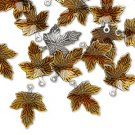maple,leaf,silver,antique,charm,pendant