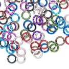 Aluminum jumprings, 6mm, 18 GA - 1mm thick, mixed colours, 100pcs