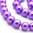 Round glass pearls, purple