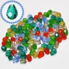 Faceted glass beads, 4x6mm drops, mixed colours, 5g - approx. 50pcs