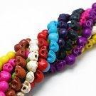 Skull beads of synthetic stone, 10mm, assorted colours, 20pcs