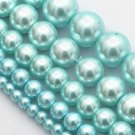Round glass pearls, light blue