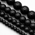 Round glass pearls, black