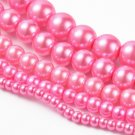 Round glass pearls, pink
