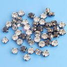 Sew-on glass rhinestones, 5.5mm, black settings, 5g - approx. 40pcs