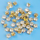 Sew-on glass rhinestones, 5.5mm, gold-coloured settings, 5g - approx. 40pcs