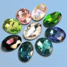 Glass rhinestones, 21x29mm ovals, mixed colours