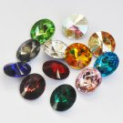 Glass rhinestones, 18mm round, mixed colours, 4pcs