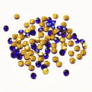 Glass rhinestone, 3mm, chaton, dark blue, 2g- approx. 90-110pcs