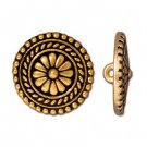 TierraCast button - flower, 18mm, 22 karat gold-plated, 1pc