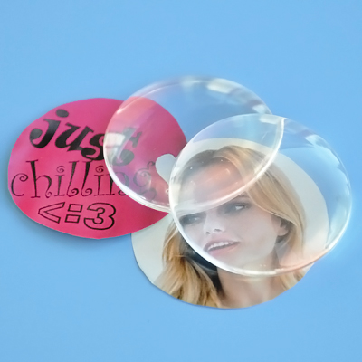 Clear magnifying cabochon, glass, 30mm round, 1pc