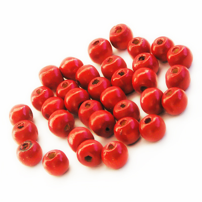 Wooden beads, 9mm round, red, 20g