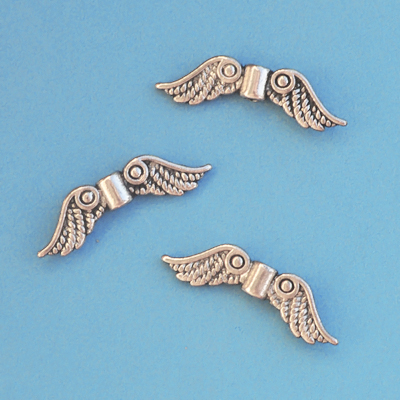 Angel wing beads, antiqued tibetan silver, 22x6.5mm, 20pcs