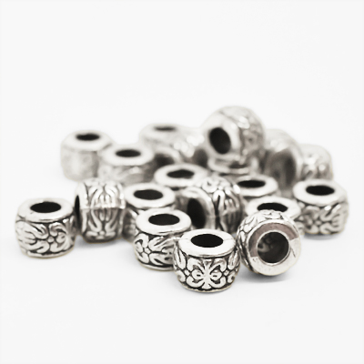 Patterned beads, 6x8mm, antiqued tibetan silver, 10pcs or BIGPACK