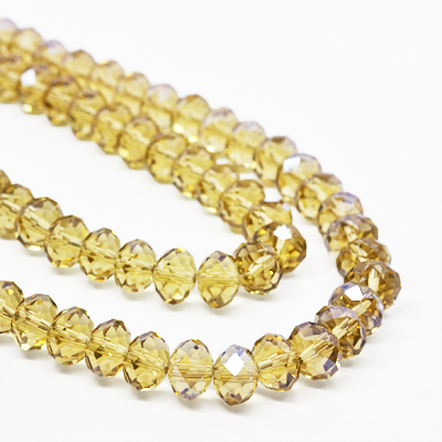 Faceted glass beads, 10x7mm rondelles, topaz, 20pcs