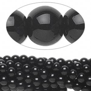 Black obsidian, natural, 6mm round beads, approx. 32-35pcs