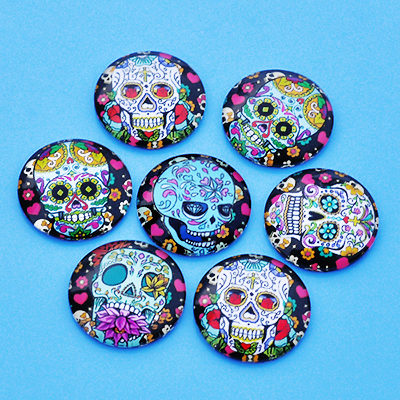 25mm round image cabochons, glass, sugar skulls
