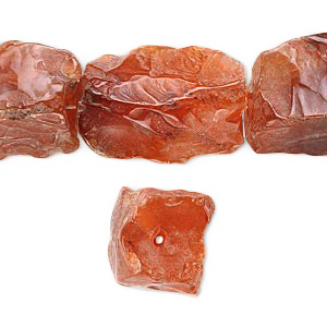 Bead, carnelian, medium to large hand-knapped tumbled rectangle nugget, 5pcs