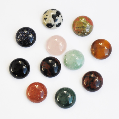 Cabochon mix, gemstone and glass, mixed colours, 10mm round, 4pcs