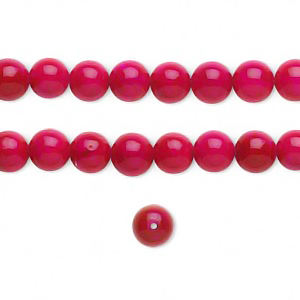 Fossil, 6mm round beads, cerise, 24-25pcs