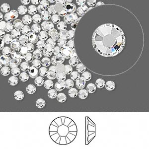 Swarovski flat back strass, 2.5-2.7mm, crystal clear, 20st