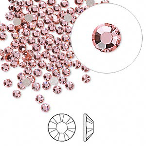 Swarovski flat back strass, 2.5-2.7mm, light rose, 20st
