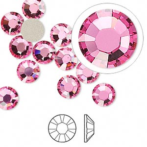 Swarovski flatback strass, 7-7.3mm, rose, 2st