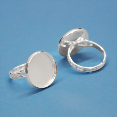 Finger ring, adjustable, 16mm round setting, silver-plated, 1pc or BIG PACK