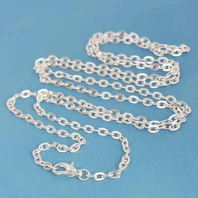 Heavy silver-plated necklace chain with lobster claw clasp, approx. 47cm, 1pc or BIGPACK