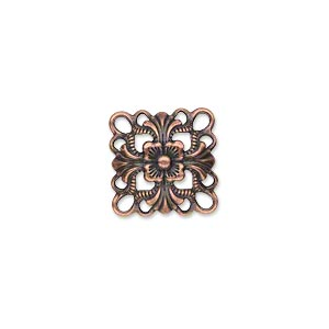 Link, 14x14mm single-sided domed diamond, antique copper-plated, 6pcs