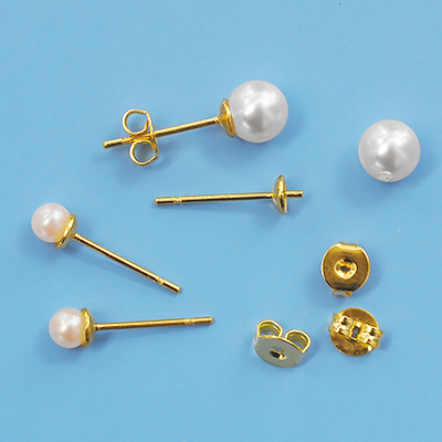 Ear studs for half-drilles beads, golden color