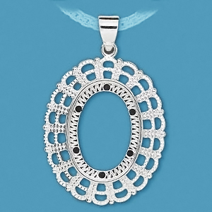 Pendant, silver-plated, 25x18mm oval cabochon setting. Sold per pkg of 1