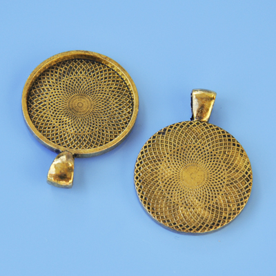 Frame pendant, 1.8mm deep, 25mm round setting, antique gold-coloured, 1pc or BIGPACK