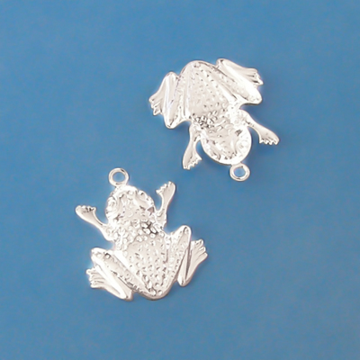 Silver-plated charms, frogs, 22x18mm, 2pcs