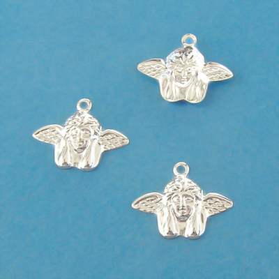 Charm, silver-plated brass, 17x14mm angel, 10pcs