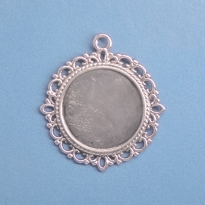 Frame pendant, 19mm round setting, antique silver-coloured, 1pc or BIGPACK