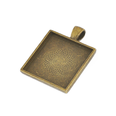 Frame pendant, 2mm deep, 25x25mm square setting, antique bronze-coloured, 1pc or BIGPACK