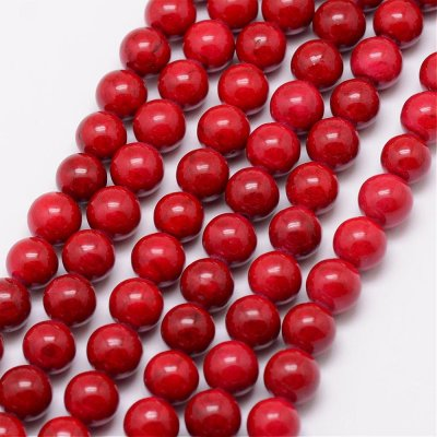 Fossil, 6mm round beads, red, 22pcs