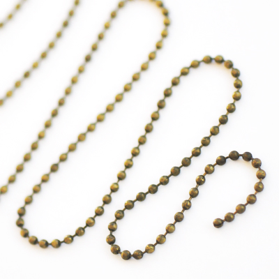 Ball chain, 2.4mm, antique bronze-coloured, 1m or BIGPACK