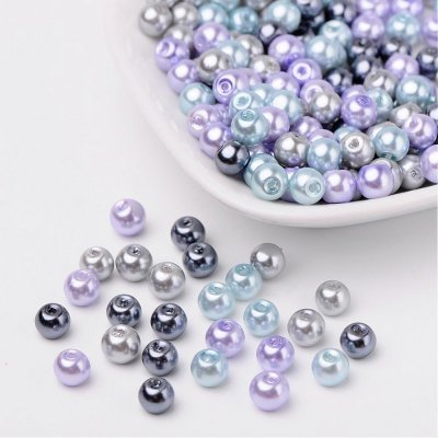 Silver-Grey Mix Pearlized Glass Beads, 6mm, 50g - about 190-200pcs