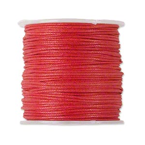 Cord, waxed cotton, red, 0.5-0.7mm, priced per 5m