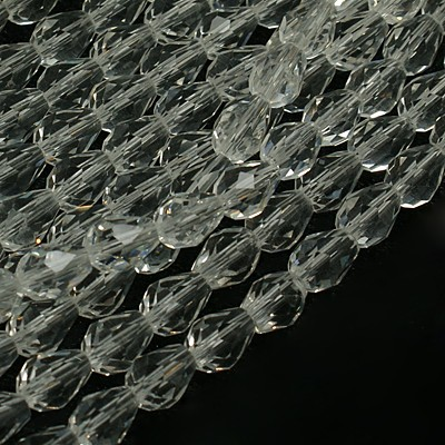 Drop-shaped glass beads, clear, faceted