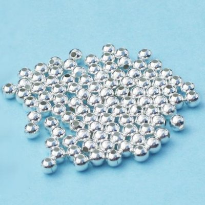 Silver-plated round metal beads, 4mm, 50pcs