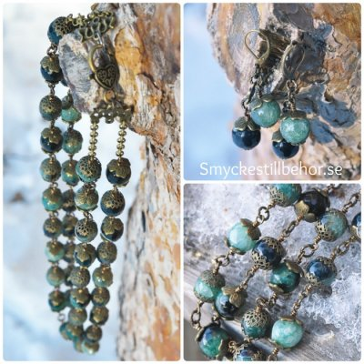 Jewelry set, agate beads and bronze findings